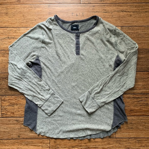 BDG Other - Grey and White Marled Baseball Tee Henley